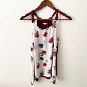 Maurices - Burgundy Floral Tank Top - M